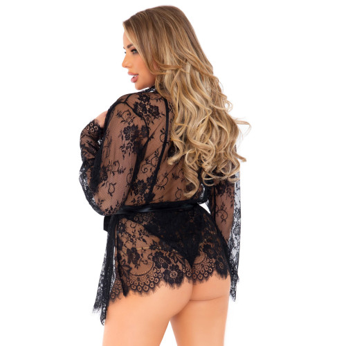 Leg Avenue Floral Lace Teddy With Robe Black